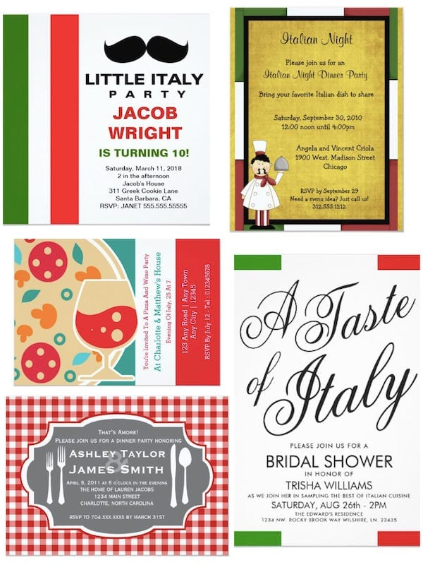 Italian Dinner Party Invitations