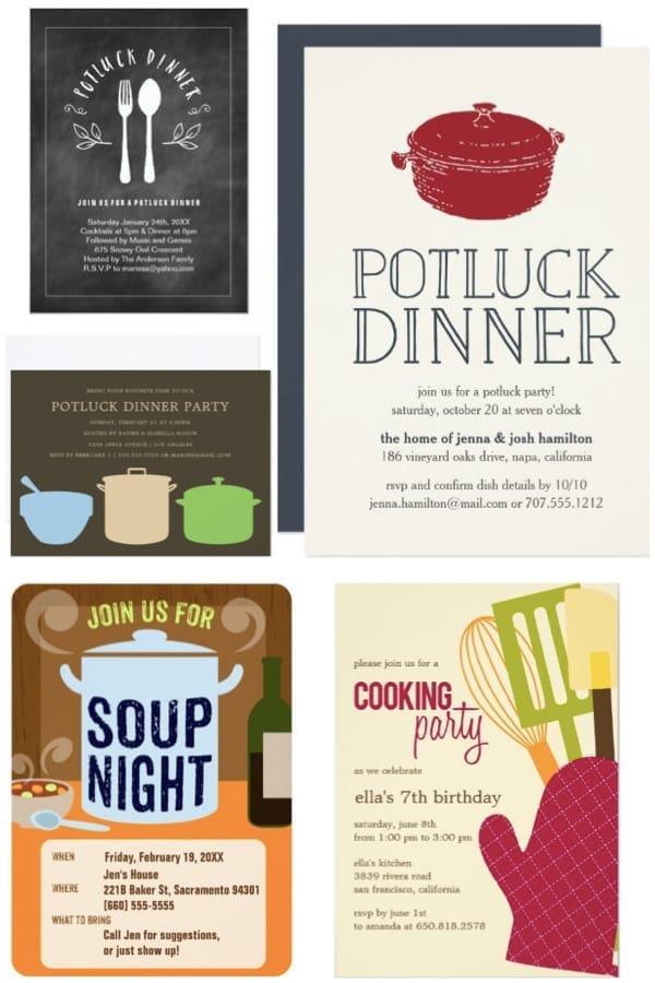 Potluck Dinner Party invitations