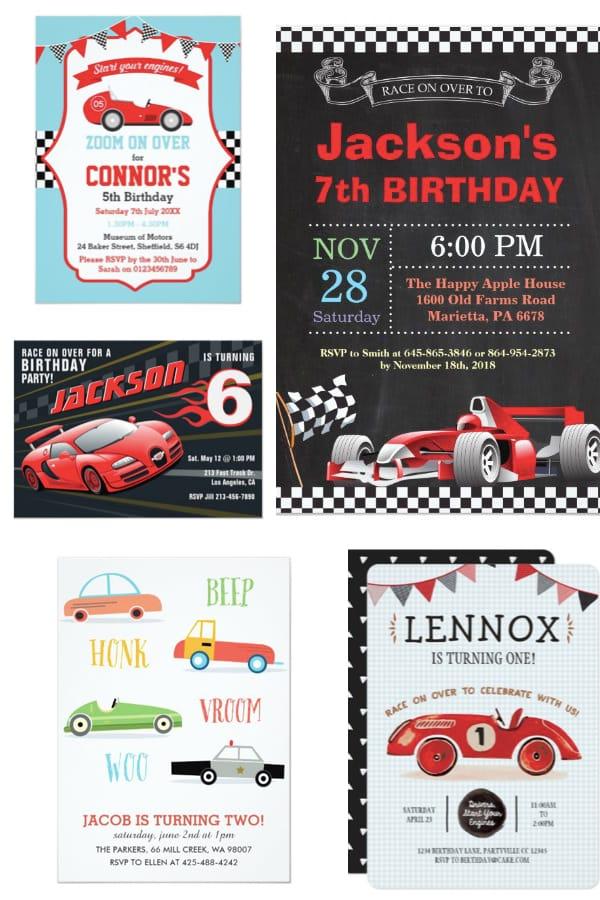 Race Car Themed Birthday Party Invitations