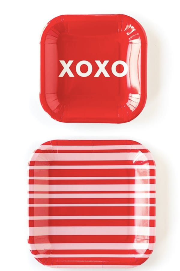 Red and Pink Stripes and Hugs and Kisses Plates