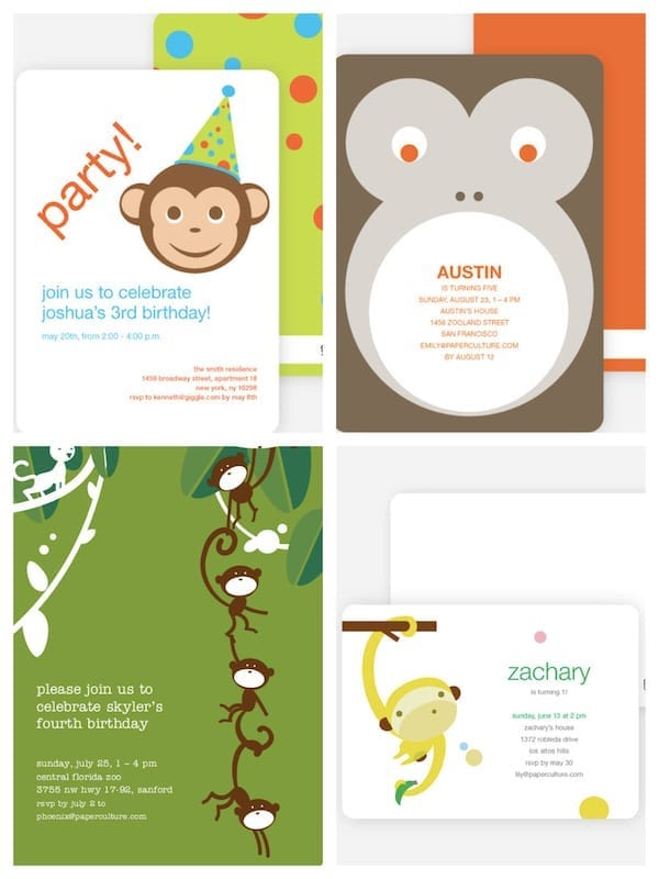 Monkey Themed Party Invitations