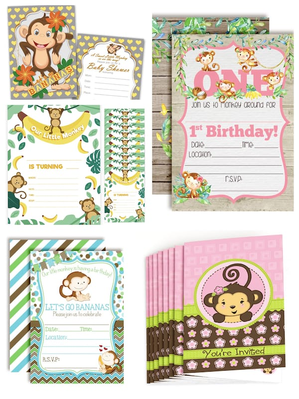 Monkey Themed Party Fill-In Invitations