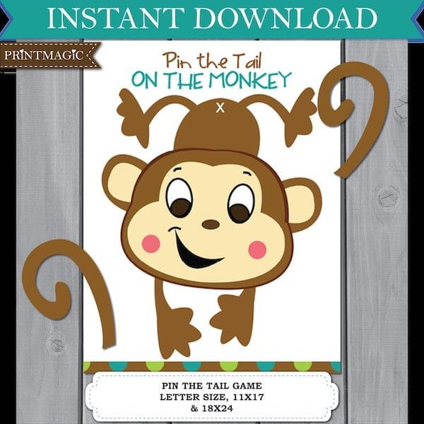 Pin the Tail On the Monkey Printable Party Game