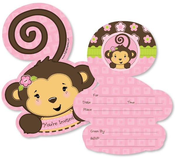Pink Monkey Shaped Fill-in Invitations