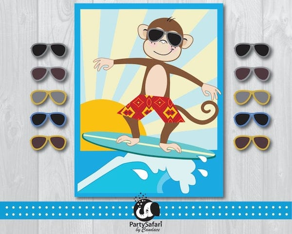Surfing Monkey Printable Pin the Sunglasses on the Monkey Game
