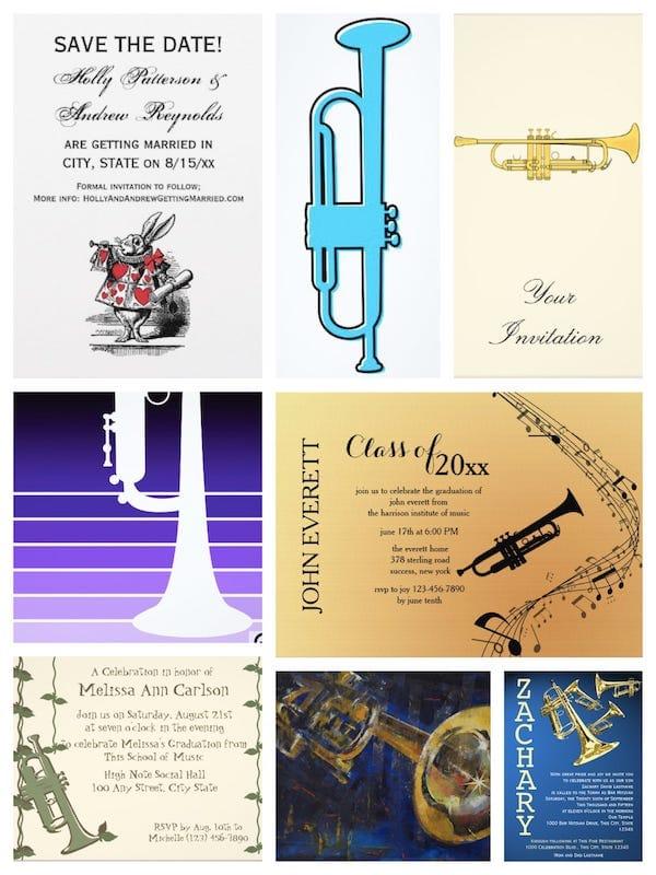 Trumpet Party Invitatons
