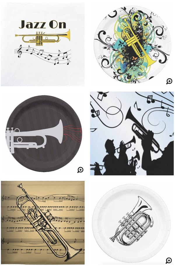 Trumpet Placemats Napkins and Paper Plates
