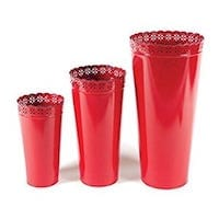 Red Metal Decorative Bucket Flower Vases