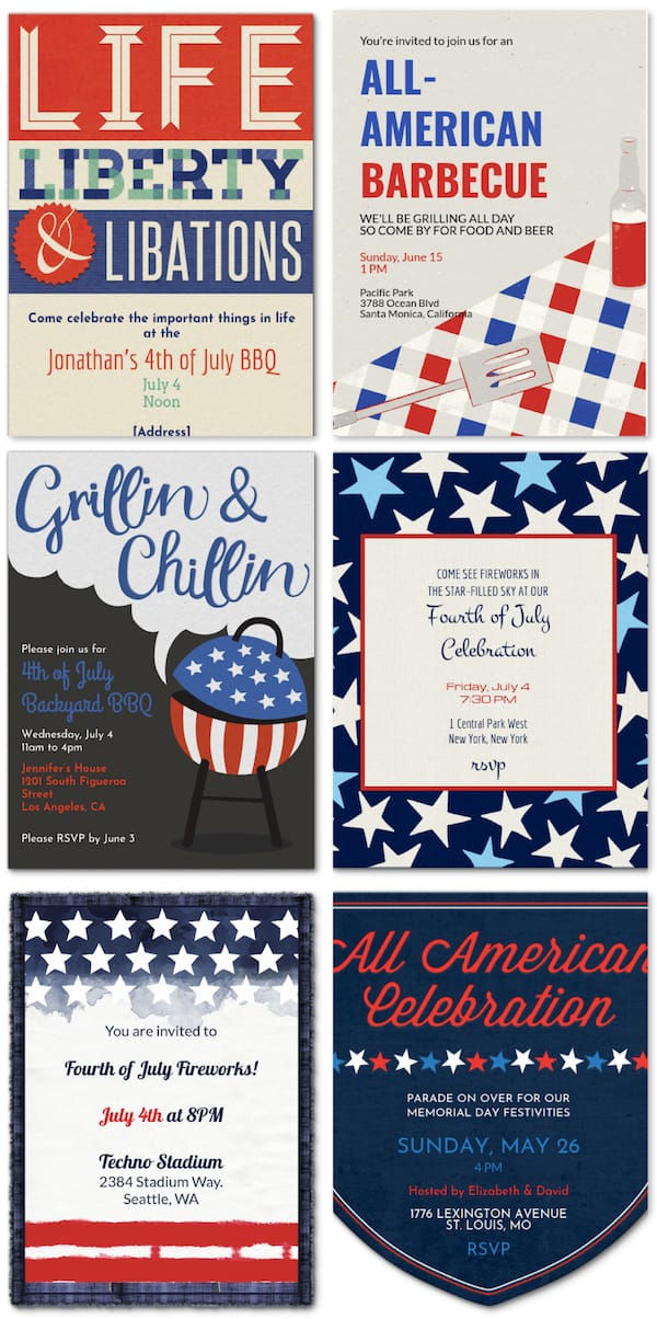 Email or Text your PatrioticParty Invitations
