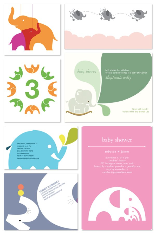 Elephant Baby Shower and Birthday Party Invitations
