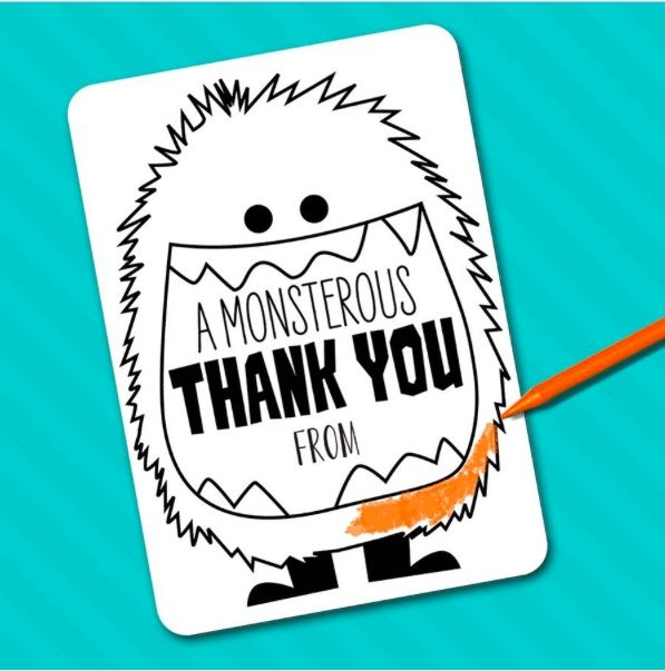 Kids Color-In Thank You Notes Stationery