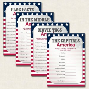 Printable Patriotic Americana Quiz Cards