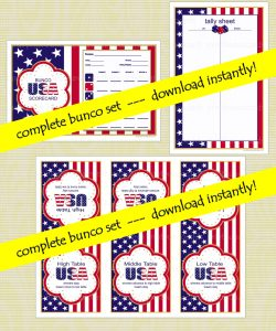 Printable Patriotic Bunco Games