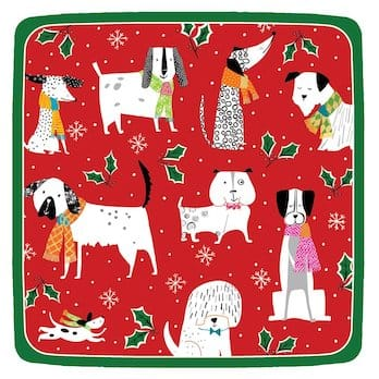 Christmas Canines Square Plate