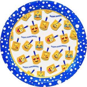 Emoji Dreidel Hanukkah Paper Plates