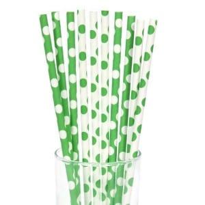 Green White Polka Dot Straws