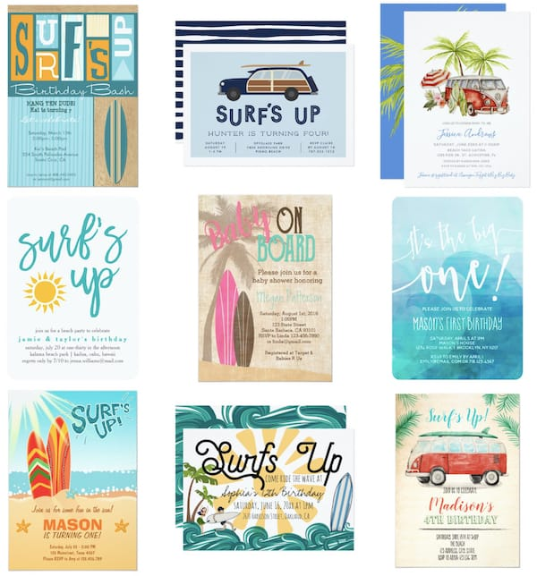 Surf Birthday Party and Baby Shower Invitatons