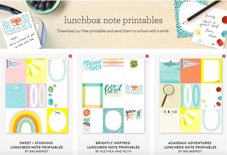 Lunchbox Note Printables