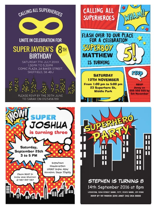 Superhero Boys Birthday Invites