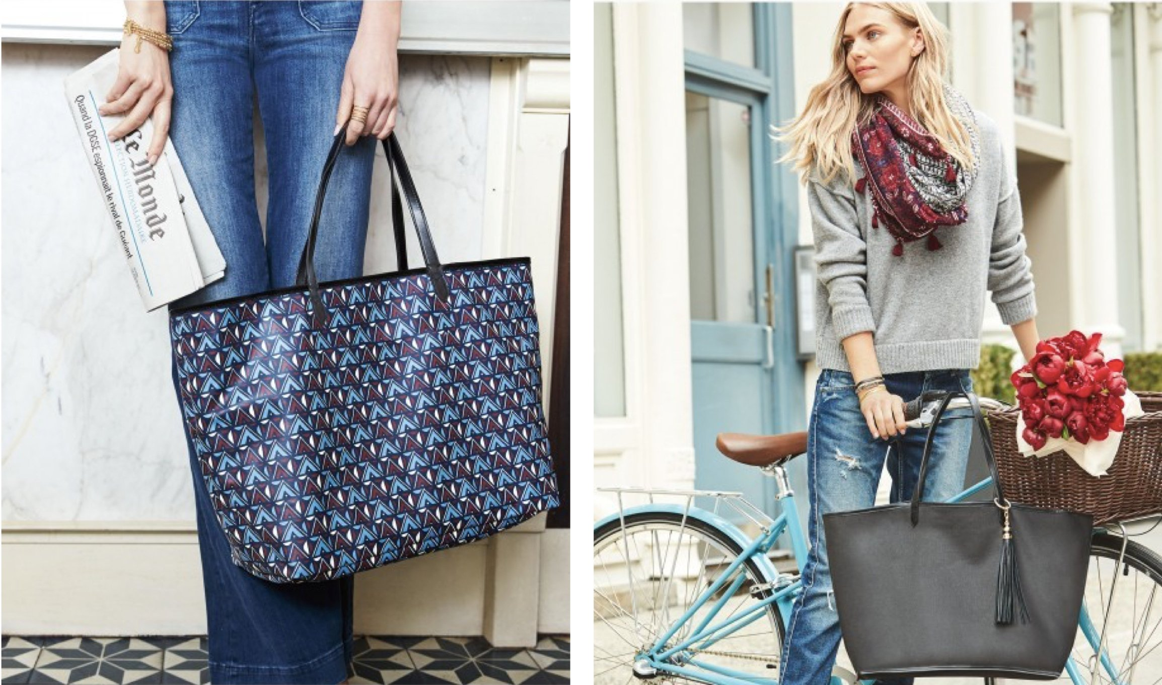 Reversible Voyage Tote in Black & Tribal Prints