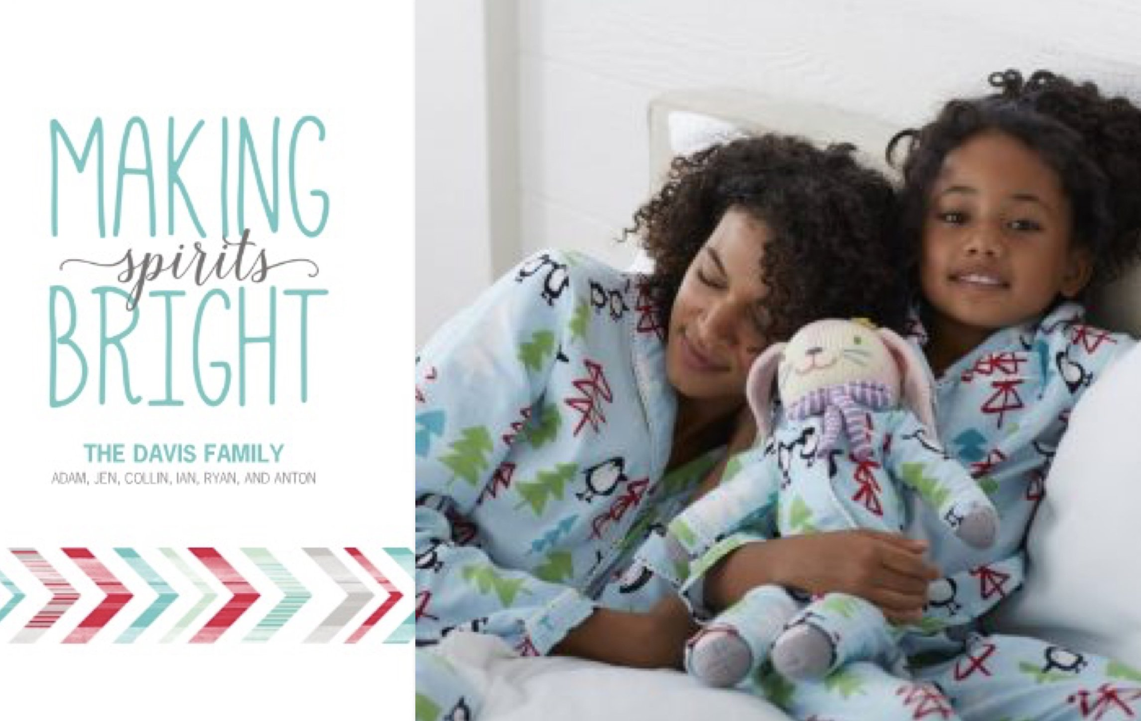 Matching Family Pajama Holiday Photo Cards