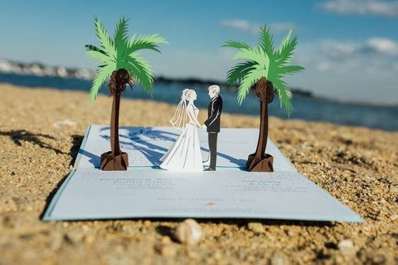 Beach Vows Pop-Up Wow Wedding Invitations