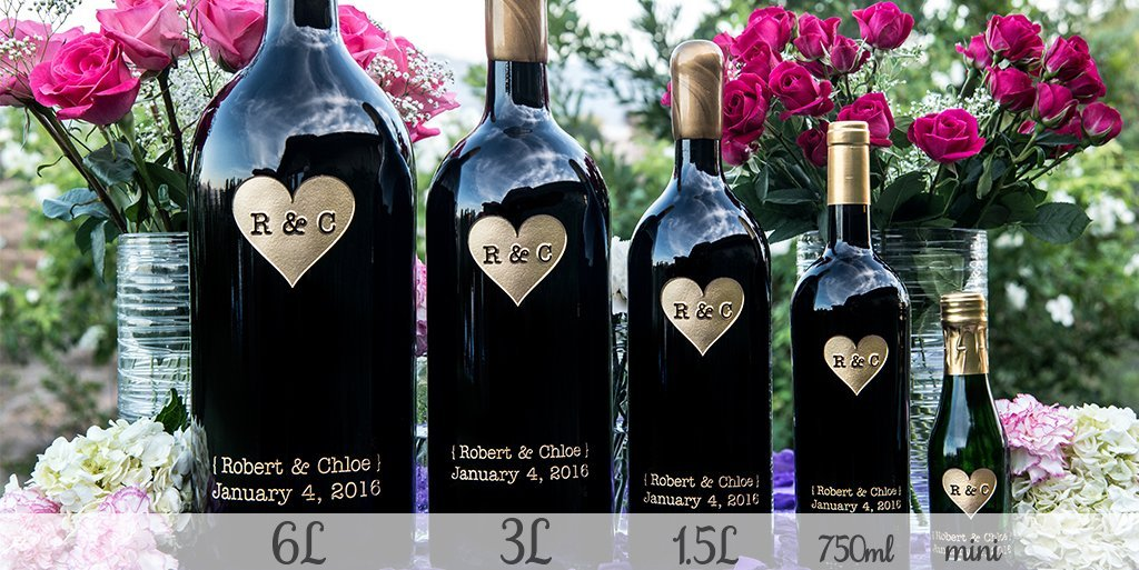 Big to Mini Wedding Etched Wines