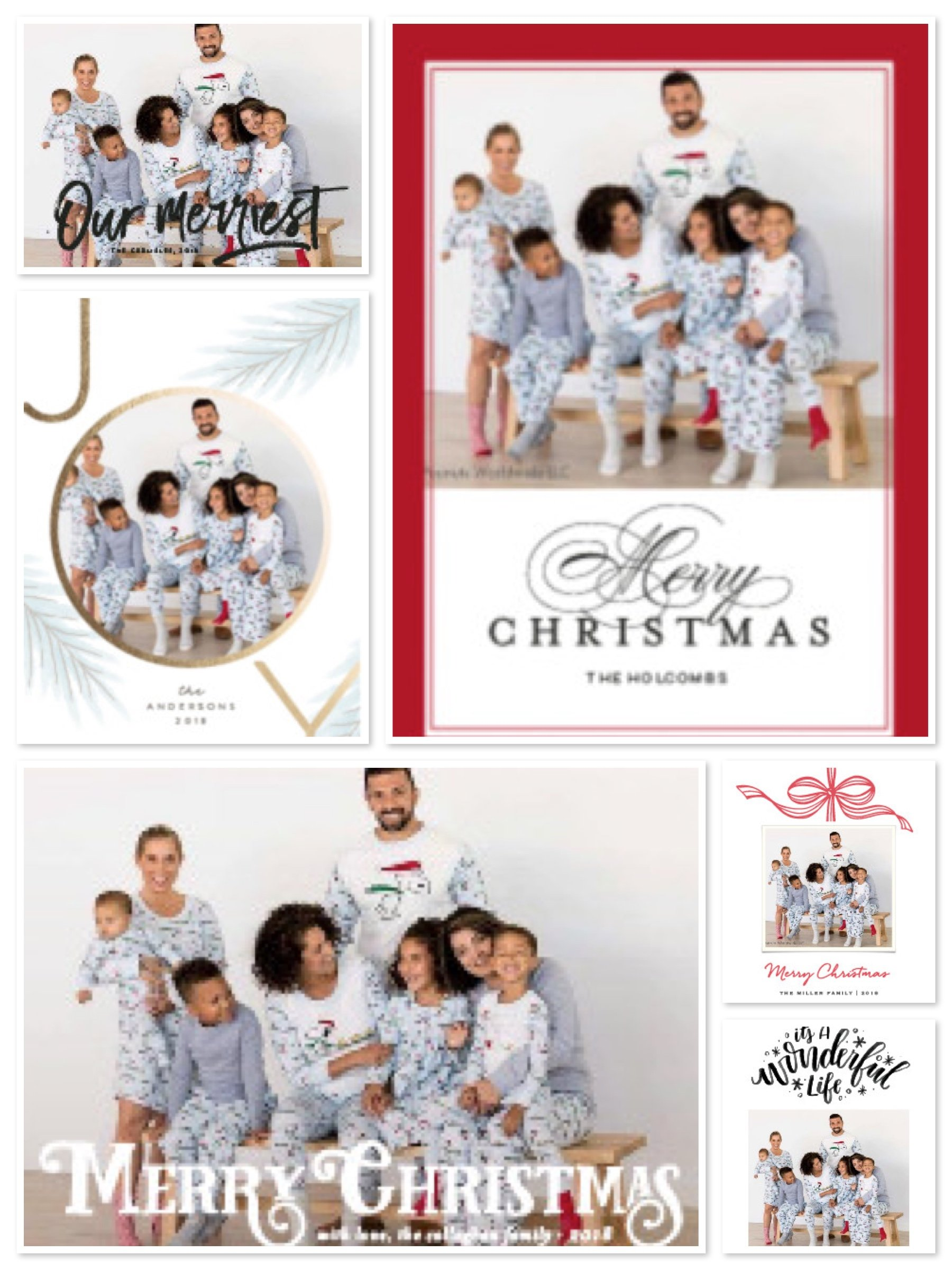 Christmas Cards with Matching Family Pajamas 2