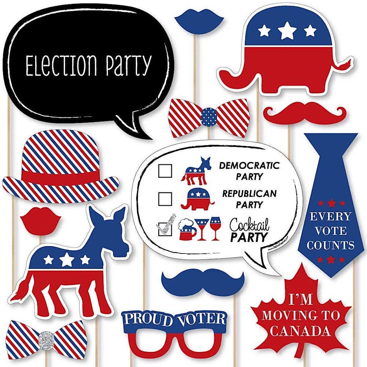 Political 2020 Election Party and Political Events Photo Booth Prop Kit