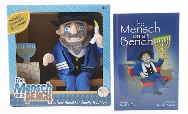 Limited Edition Plush Mensch On A Bench with Blue Tallit