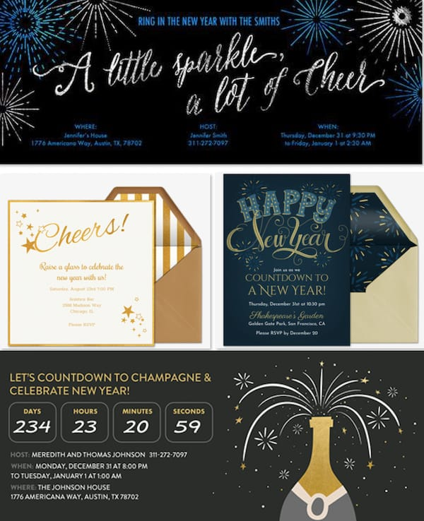 New Years Eve Digital Invitations
