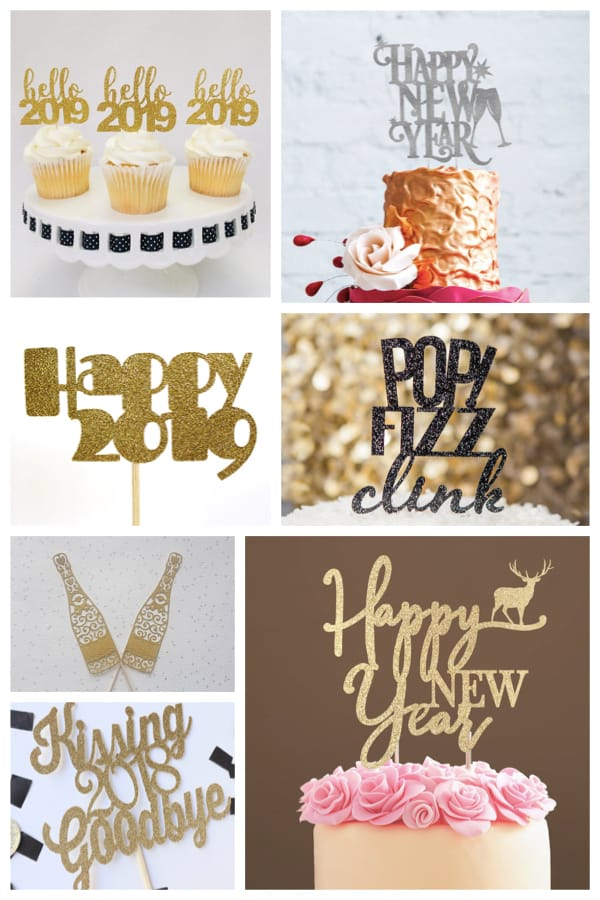New Year Glitter Cake Toppers
