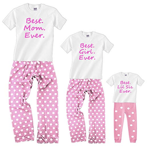 Best Ever Matching Mom Daughter Pink Valentines Day Pajamas