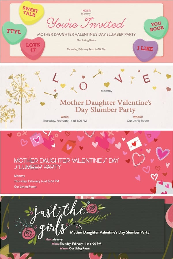 Email or Text FREE Mother Daughter Valentines Day Slumber Party Invitations