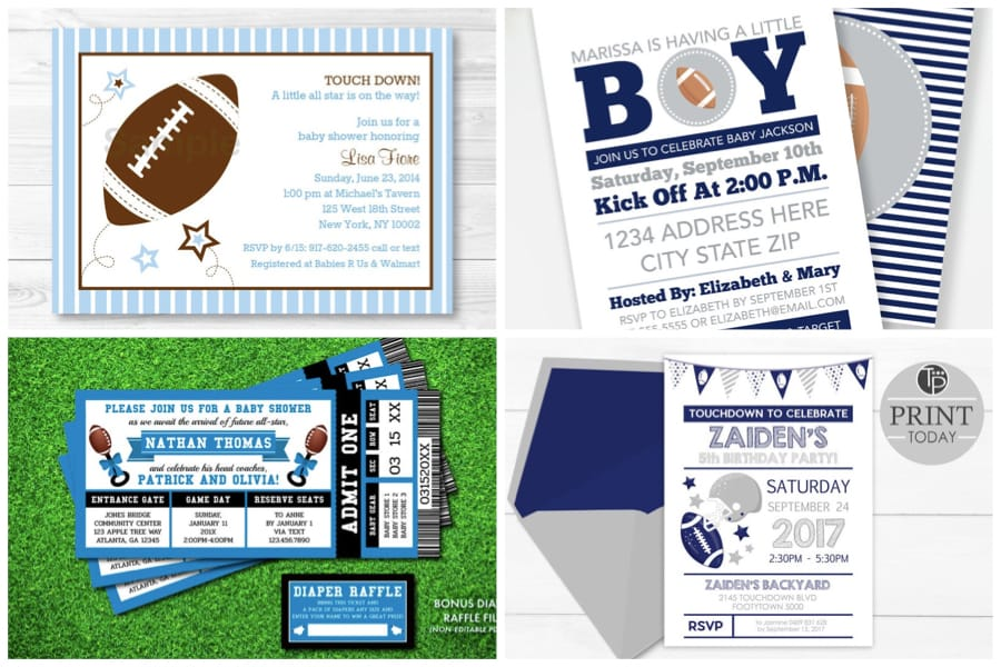Football Invitations in Shades of Blues