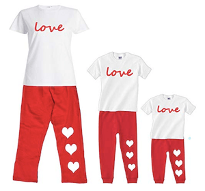 Simply Love Mother Daughter Matching Pajamas with Hearts