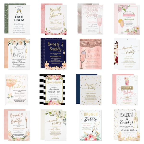 Champagne Brunch Bridal Shower Invitations