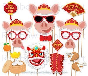 Chinese New Year Photo Booth Props - Year of the Pig