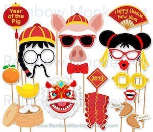 Printable Chinese New Year Photo Booth Props - Year of the Pig