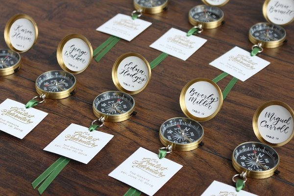 Travel Themed Party DIY Compass Escort Cards