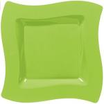 Green Wavy Paper Plates