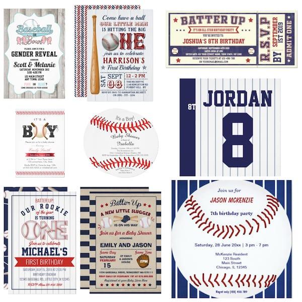 Baseball Birthday and Baby Shower Invites