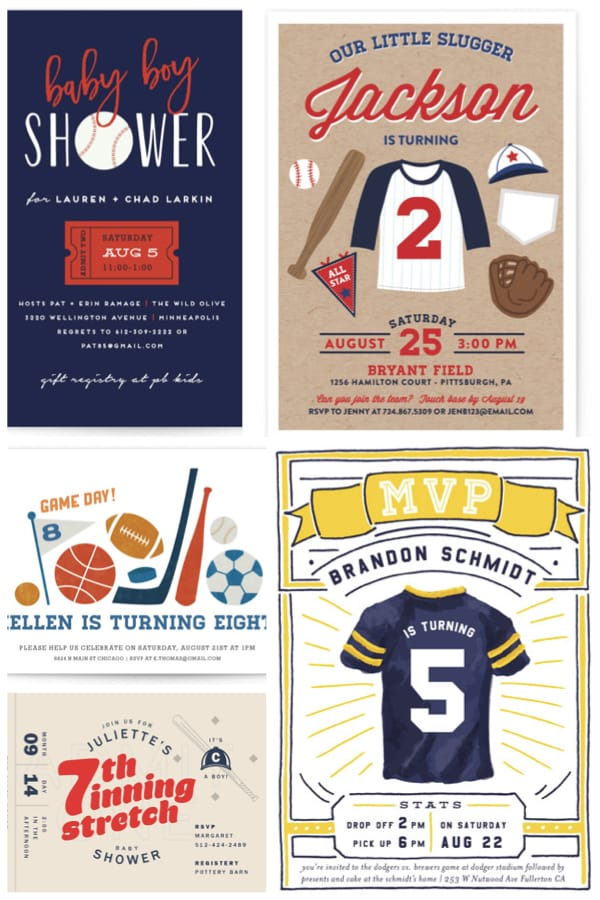 Baseball Themed Childrens Birthday and Baby Shower Invitations