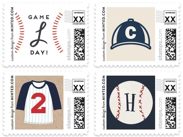 Baseball Themed Postage Stamps