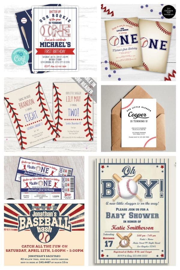Printable Baseball Party Invitations