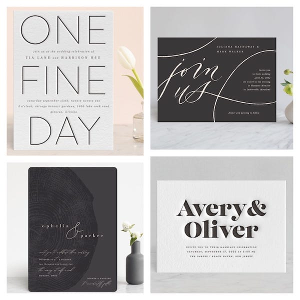 Gender Neutral Black and White Elegant Wedding Invitations