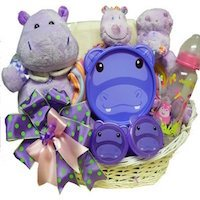 Happy Happy Hippo Baby Girl Gift Basket