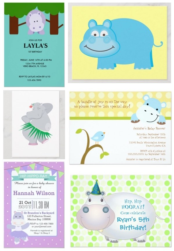 Hippo Birthday and Shower Invitations