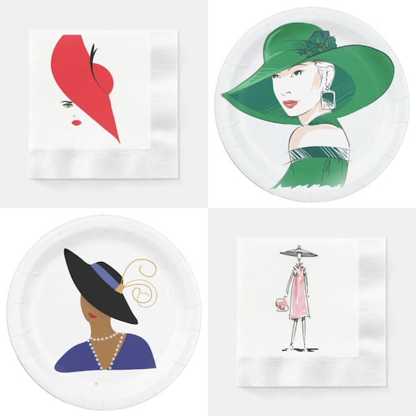 Ladies in Hat Paper Plates and Napkins