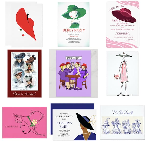 Women in Hats Party Invitations